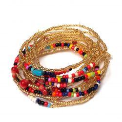 Bracelet doré multirang perles