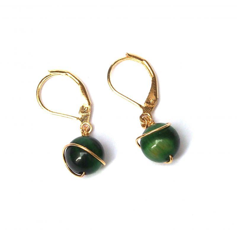 Boucles d'oreilles plaqué or oeil de chat vert