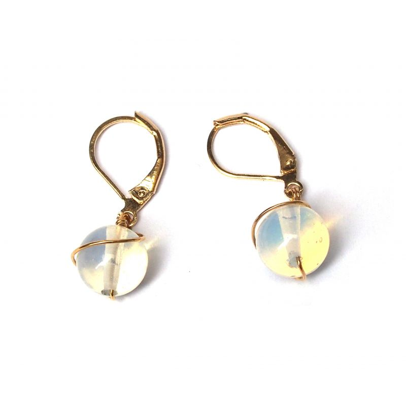 Boucles d'oreilles plaqué or Opale