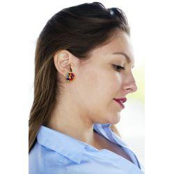 Boucles d'oreilles plaqué or verre de Murano multicolore - femme