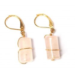 Boucles d'oreilles plaqué or quartz rose