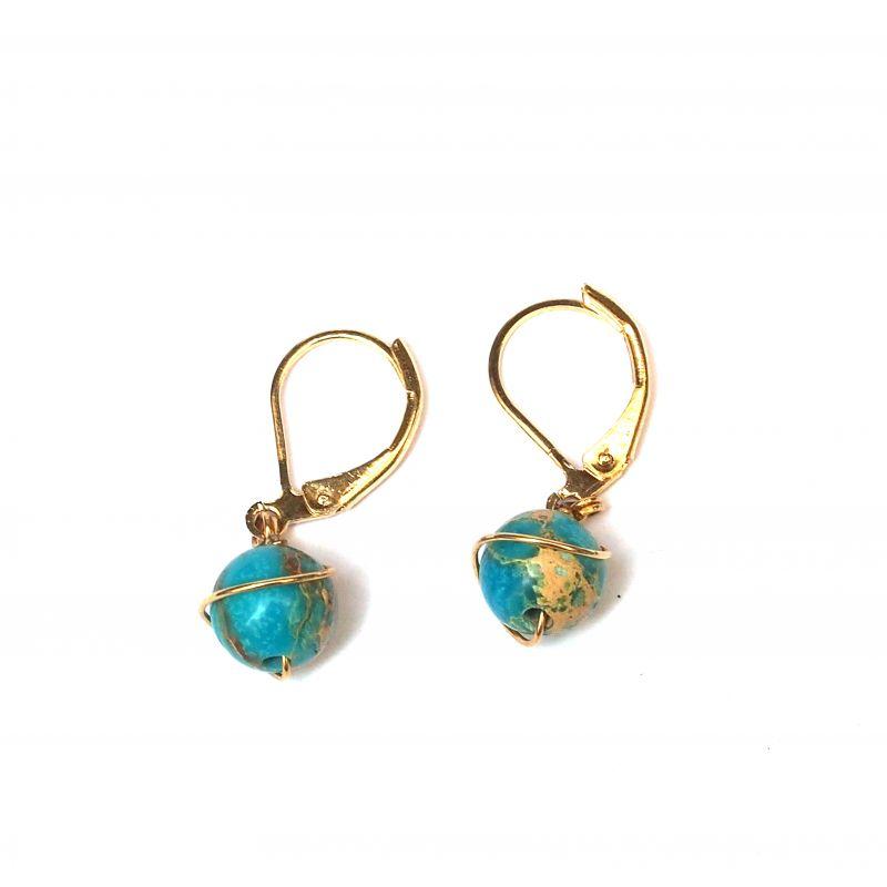 Boucles d'oreilles plaqué or Turquoise africaine