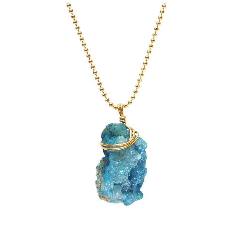 Collier plaqué or Agate bleue