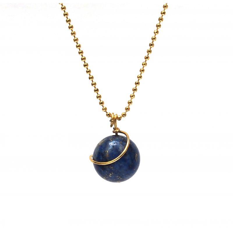 Collier plaqué or Lapis lazuli