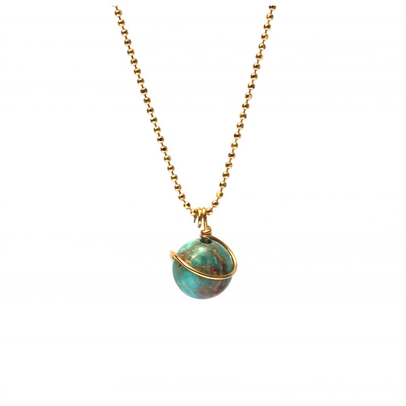 Collier plaqué or Turquoise africaine