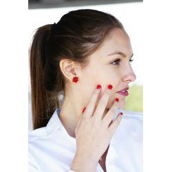 Boucles d'oreilles plaqué or verre de Murano rouge - femme