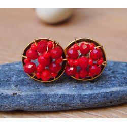 Boucles d'oreilles plaqué or verre de Murano rouge