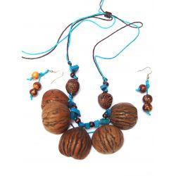 Parure collier et boucles d'oreille graines de cèdre et ivoire végétal