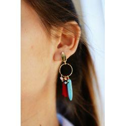 Boucles d'oreille plaqué or pompon - porté