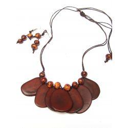 Parure collier et boucles d'oreilles ivoire végétal marron