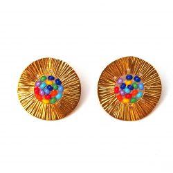 Boucles d'oreilles plaqué or perles multicolore