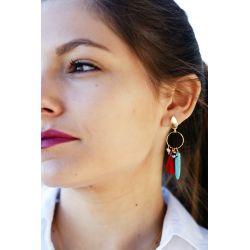 Boucles d'oreille plaqué or pompon - femme
