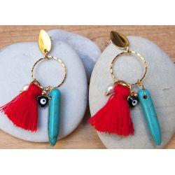 Boucles d'oreille plaqué or pompon