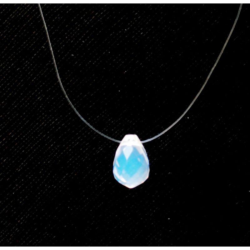 Collier ras du cou goutte d'opale transparente