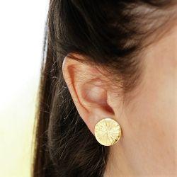 Boucles d'oreilles plaqué or rondes - porté