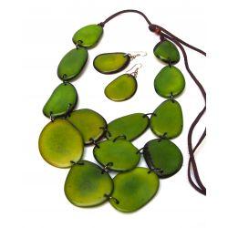 Parure sautoir et boucles d'oreille ivoire végétal vert