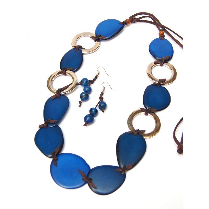 Parure sautoir et boucles d'oreilles ivoire végétal bleu
