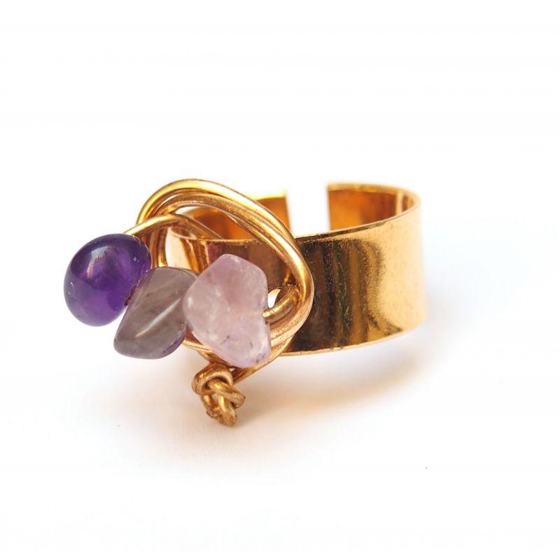 Bague réglable plaqué or quartz violet