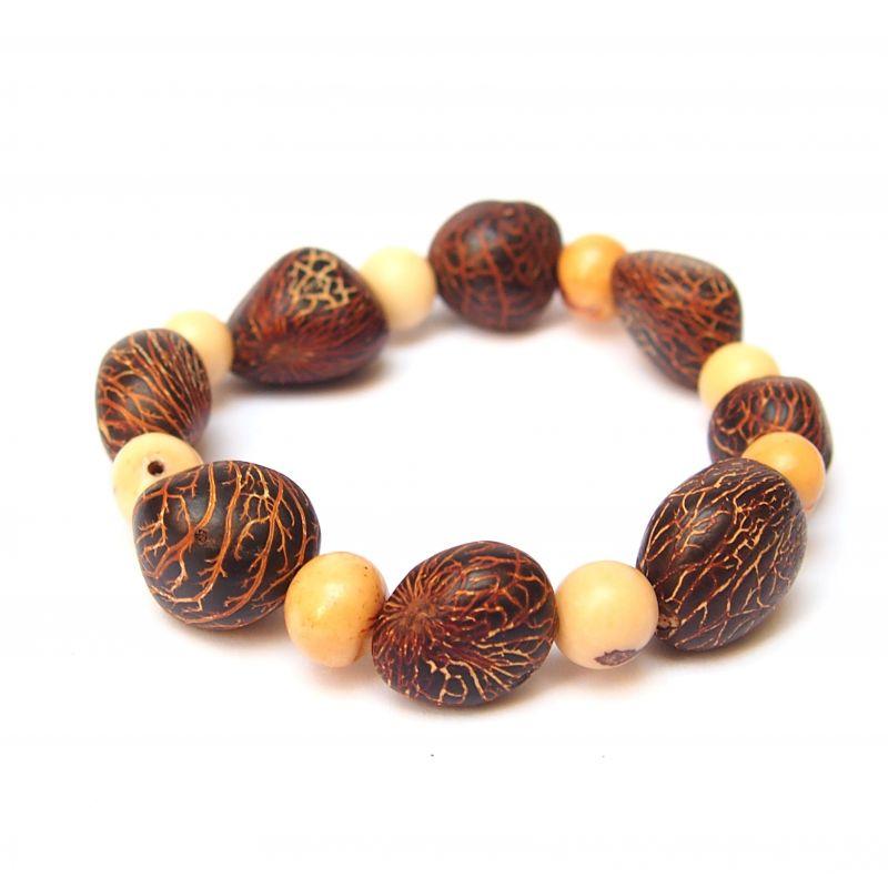 Bracelet graine asahi marron et ivoire végétal blanche femme