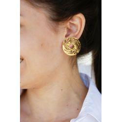 Boucles d'oreilles plaqué or ethnique précolombien - porté