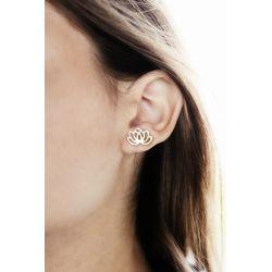 Boucles d'oreilles plaqué or fleur de lotus - porté