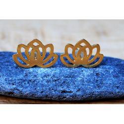 Boucles d'oreilles plaqué or fleur de lotus