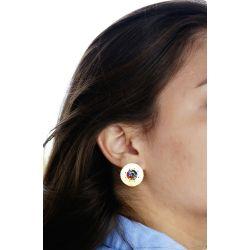 Boucles d'oreilles plaqué or perles multicolore - porté
