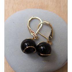 Boucles d'oreilles plaqué or Onyx