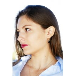 Boucles d'oreilles plaqué or Onyx - femme