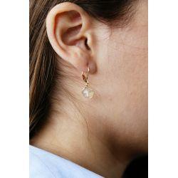 Boucles d'oreilles plaqué or Citrine - porté