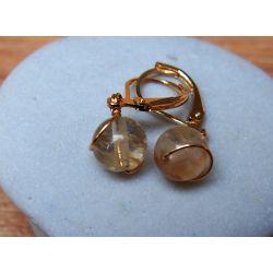 Boucles d'oreilles plaqué or Citrine