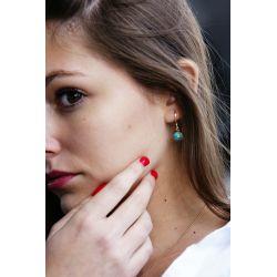 Boucles d'oreilles plaqué or Turquoise africaine - femme