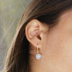 Boucles d'oreilles plaqué or Opale - femme