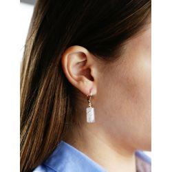 Boucles d'oreilles plaqué or Quartz rose - porté