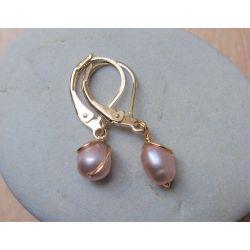 Boucles d'oreilles plaqué or Perle rose