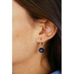 Boucles d'oreilles plaqué or Lapis-lazuli - porté