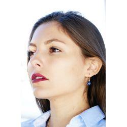 Boucles d'oreilles plaqué or Lapis-lazuli - femme