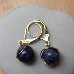 Boucles d'oreilles plaqué or Lapis-lazuli