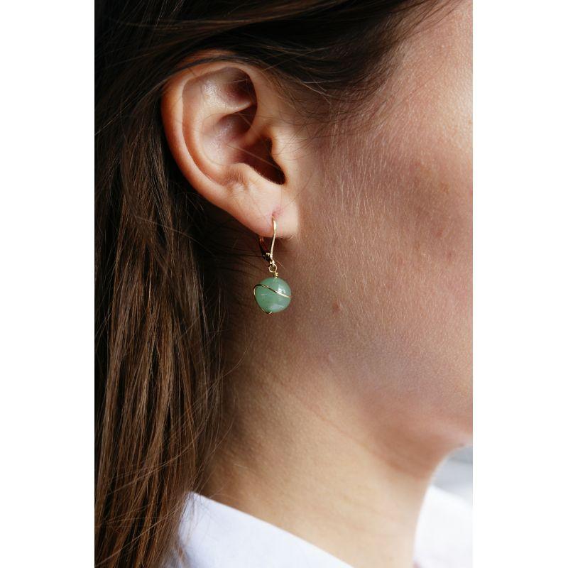 Boucles d'oreilles plaqué or Aventurine - porté