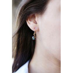 Boucles d'oreilles plaqué or Turquoise chocolatée - porté