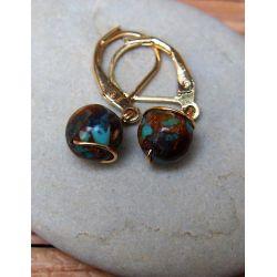 Boucles d'oreilles plaqué or Turquoise chocolatée