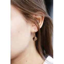 Boucles d'oreilles plaqué or Quartz fumé - porté