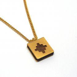 Collier ethnique plaqué or et bois
