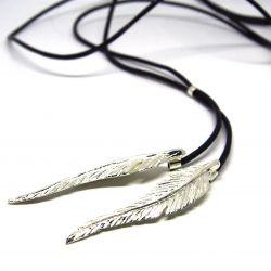 Collier ethnique long plumes