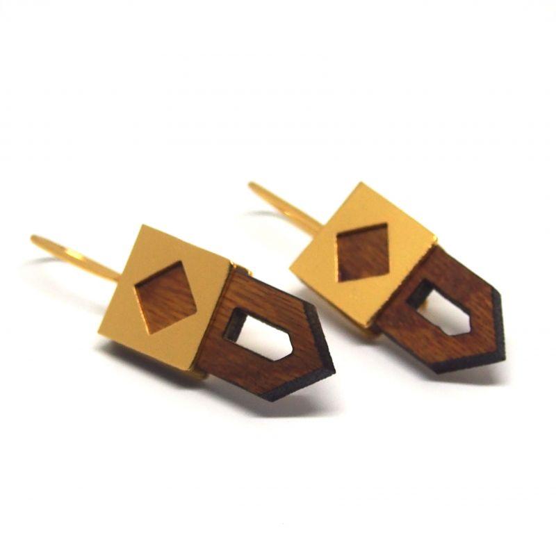 Boucles d'oreilles ethniques en bois
