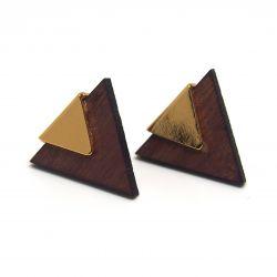Boucles d'oreilles ethniques triangulaires plaqué or et bois