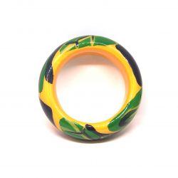 Bracelet bois et résine jaune vert