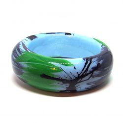 Bracelet bois et résine vert bleu