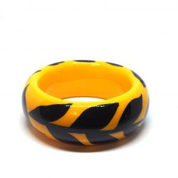 Bracelet bois et résine jaune et noir