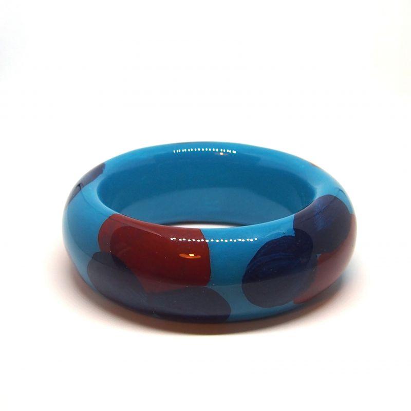 Bracelet bois et résine peint à la main bleu et rouge